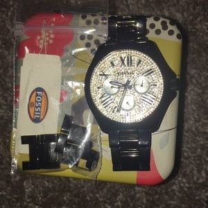 fossil black watch with gems- Must Go 🌞🌞!